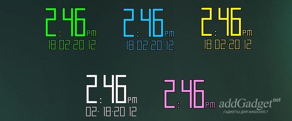 Цветные цифровые часы для Windows 7