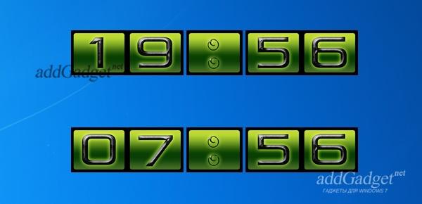 Зелёные цифровые часы