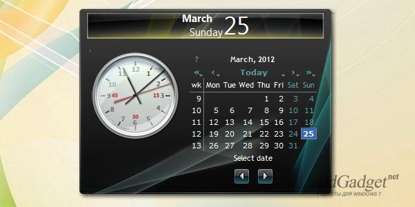 Гаджет календарь с часами