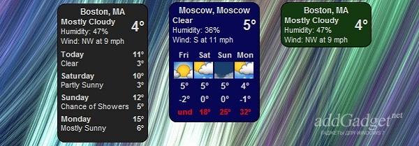 Гаджет погоды на 5 дней