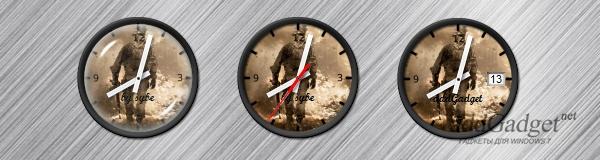Часы с наложенным эффектом стелка, включенной секундной стрелкой и текущей датой