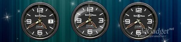 Демонстрация часов с наложением эффектов (Дата, эффект стекла, отключенная секундная стрелка)