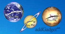Часы для рабочего стола в виде 15-ти планет