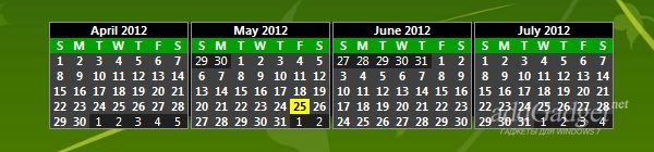 Отображение календаря сразу на четыре месяца