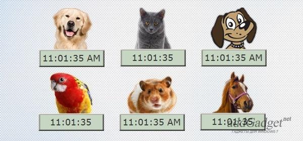 Цифровые часы с животными