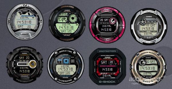 Все доступные скины часов Casio Digital Clocks