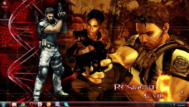 Тема для Windows 7 в стиле игры Resident evil 5 - Скриншот #1