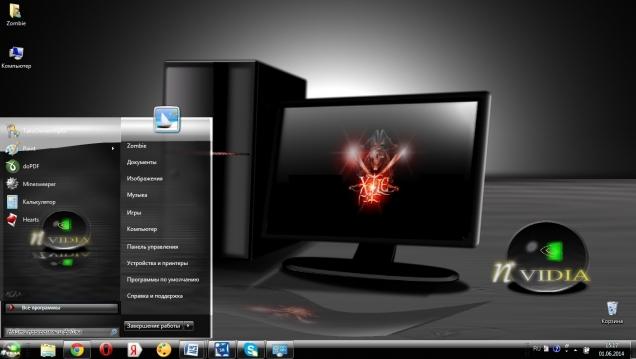 Темная тема для Windows 7 в стиле видеокарты NVidia - Скриншот #1