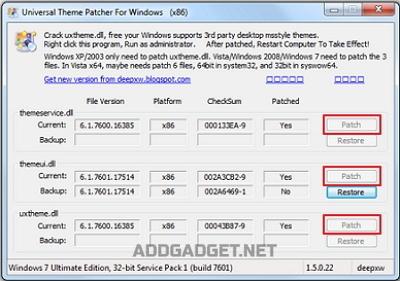 Установка патча для поддержки сторонних тем Windows 7