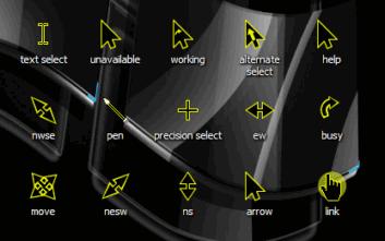 Набор черно-желтых курсоров