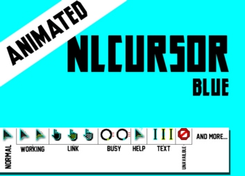 Анимированные голубые курсоры с светло-зелеными переливами