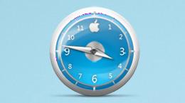 Голубые классические часы в стиле Apple