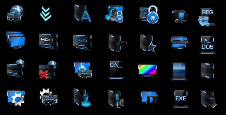 Черно-синие иконки для системных значков и папок