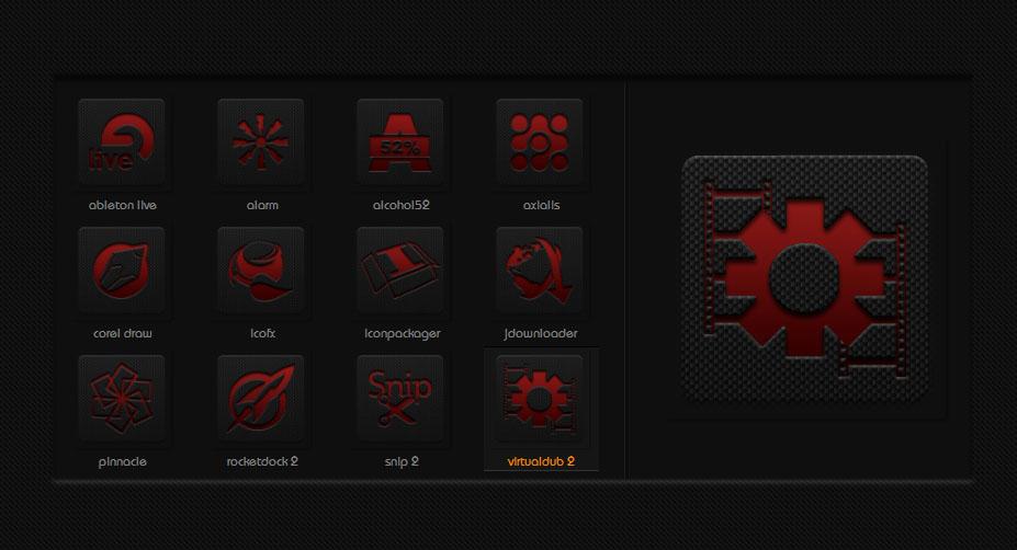 Коллекция новых иконок с эффектом карбона