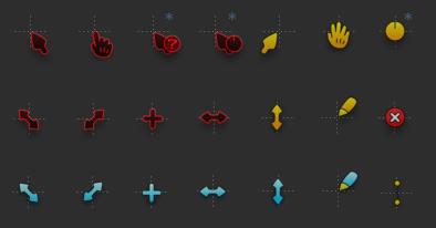 Комические курсоры (3 цвета)
