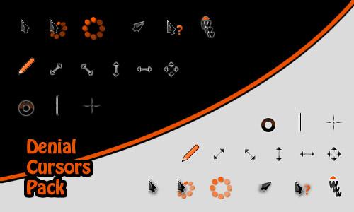 Темные курсоры с оранжевыми вставками