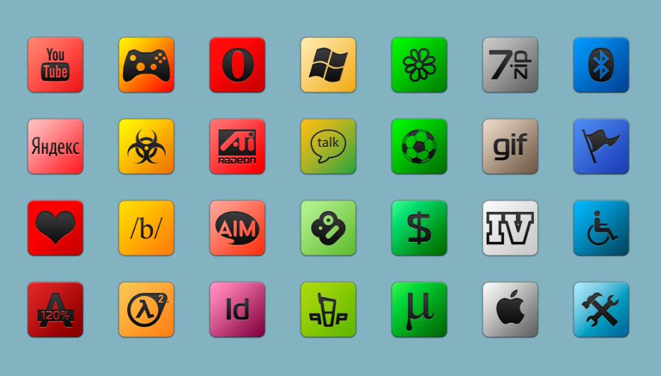 Набор ярких иконок для популярных программ
