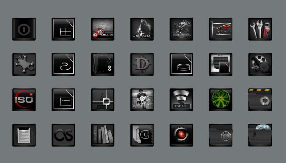 Привлекательные темные иконки