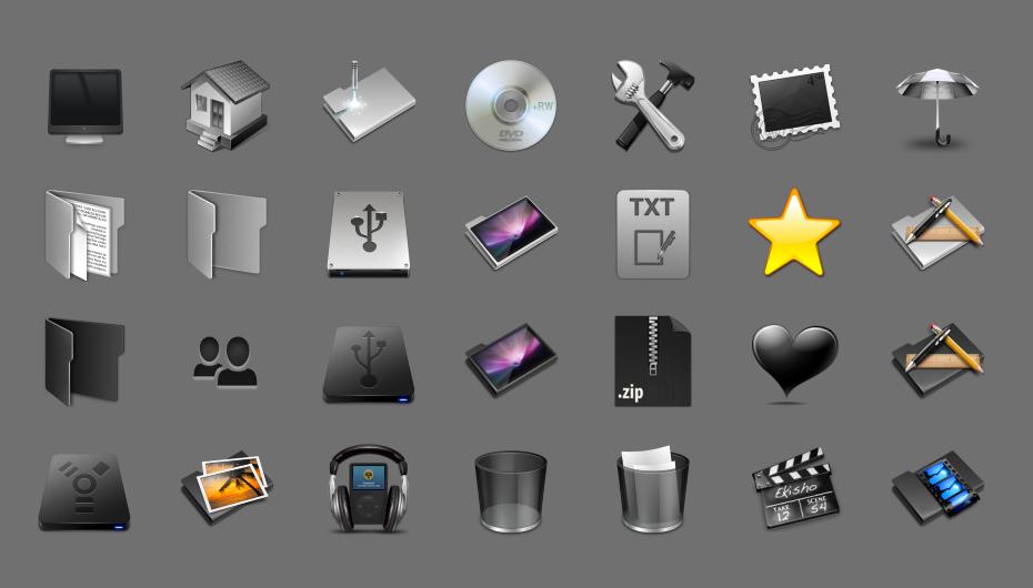 Свежий пакет иконок в стиле Mac OS