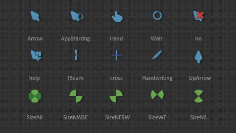 Зелёные и синие анимированные курсоры