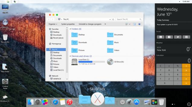 Оригинальный дизайн темы под Mac OS X El Capitan - Скриншот #1