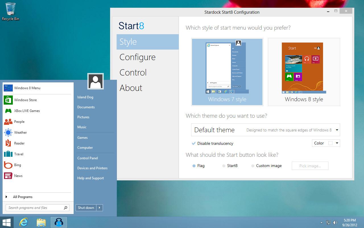 Start8 — меню «Пуск» для Windows 8 / 8.1