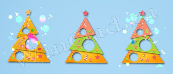 Бумажная новогодняя ёлочка c анимацией для рабочего стола