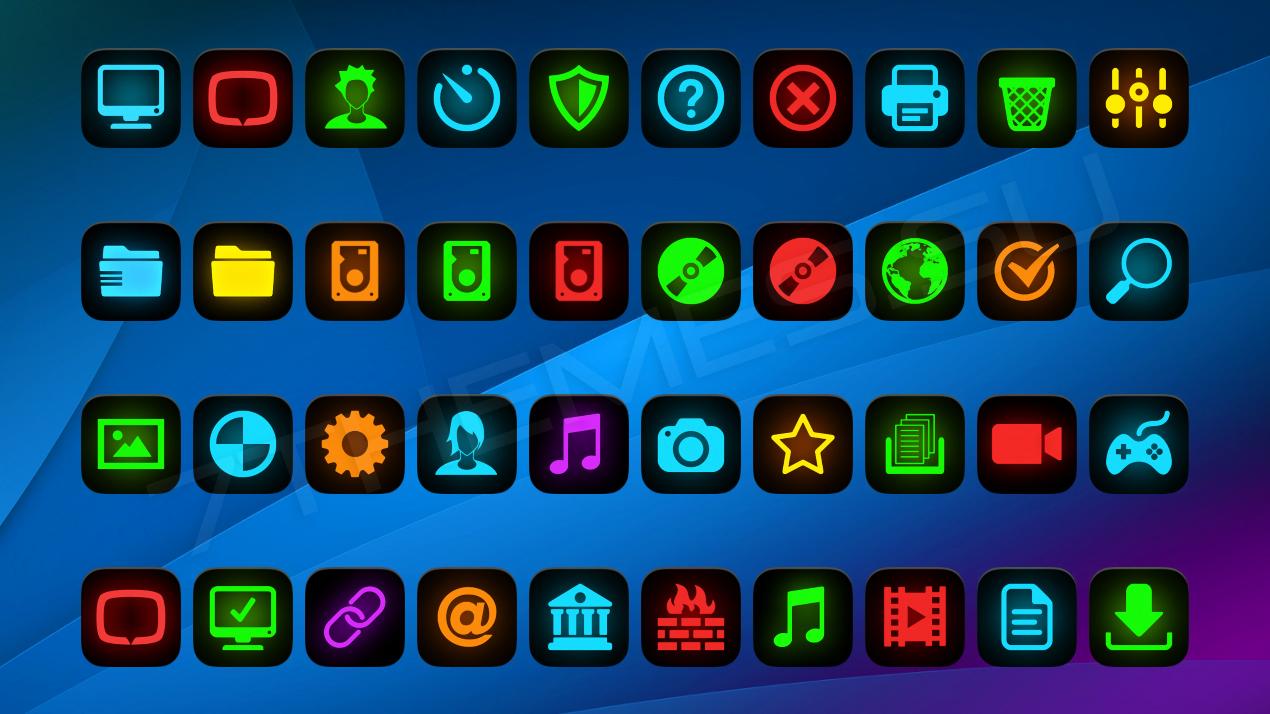 Иконки с неоновым свечением в стиле Flat