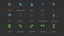Зелёные равно синие анимированные курсоры